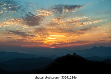 Silhouette of great wall of China during beautiful sunset