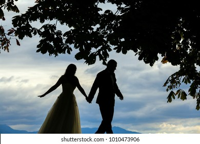 silhouette of groom and bride near the sea under the trees