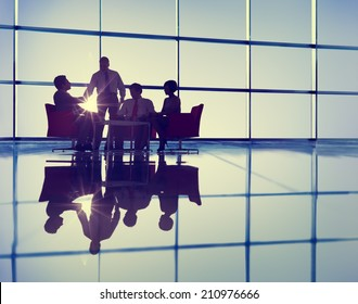 Silhouette Group of Business People Meeting
