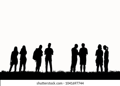 Silhouette group friends on white background.