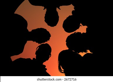 silhouette of a group of people in orange sunset