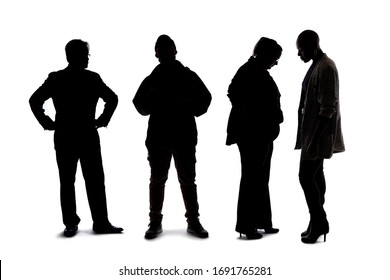 Silhouette of a group of people waiting in line.  The crowd is isolated on a white background and the models are unrecognizable and anonymous.