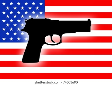 Silhouette of a gun over a flag of the United States of America