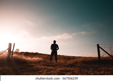 Silhouette guy standing in wheat field