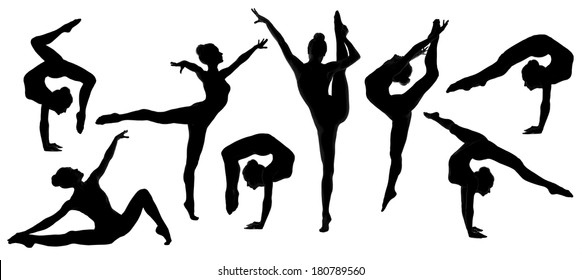 silhouette gymnast dancer, set of ballerina female flexible pose, human over isolated white background