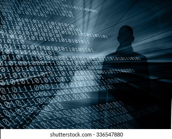 Silhouette of a hacker with binary codes on background.  Online security concept
