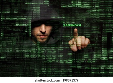 Silhouette of a hacker use  command of virus attack on graphic user interface