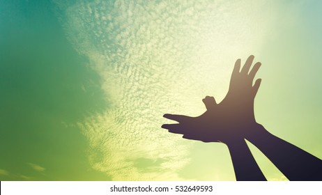Silhouette of a hand gesture like bird flying on vintage sky