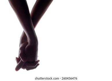 silhouette of hands man and woman holding hand on white Background, couple holding hands