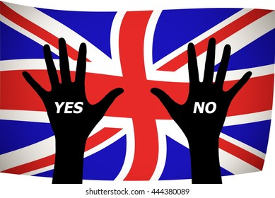 silhouette Hands on UK flag with the words yes and no. The concept of making the right choice Brexit referendum concept about UK