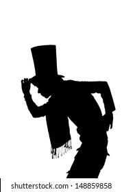 silhouette of a Handsome man with hat saluting