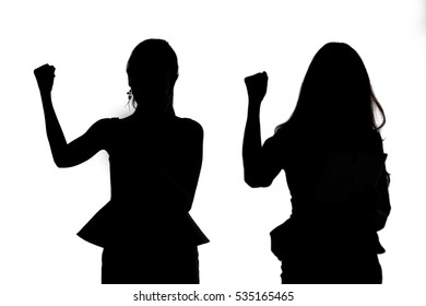 Silhouette of Happy Excited Business woman with white background