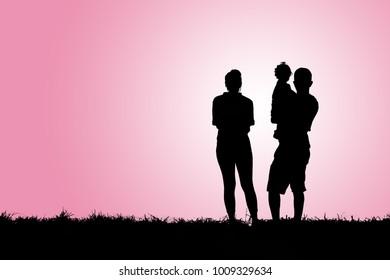 Silhouette happy family.