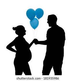 Silhouette of a happy pregnant couple on a white background