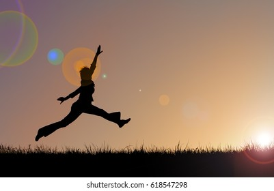 Silhouette Happy Woman Jumping