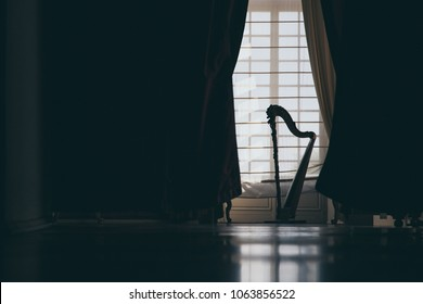The silhouette of a harp in a salon in front of a door with white curtains creates a spectacular play of light that can surprise you