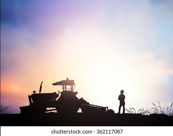 Silhouette Harvesting machine on a farm planted with vegetables, organic, non-toxic treatments. Food concept, business concept, the lifestyle concept, the agricultural industry concept.