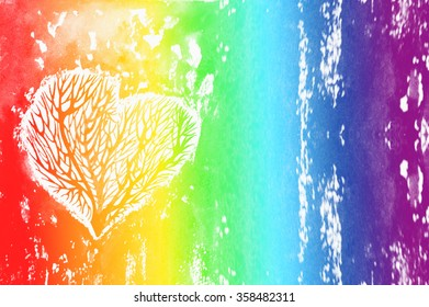The silhouette of a heart with the trees inside, rainbow watercolor background. Watercolor background colour of the rainbow