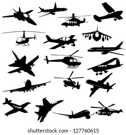Silhouette helicopter fighter plane