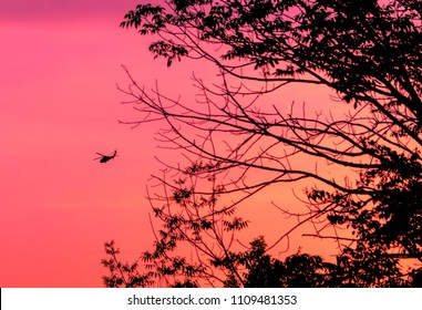 Silhouette of a helicopter flying into sunset.