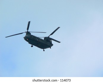 Silhouette of a heliocopter.