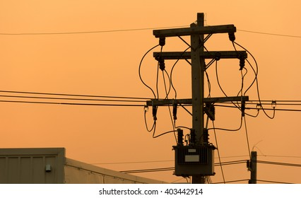 silhouette High-voltage sunset Background.