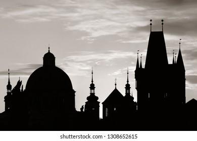 Silhouette of historical buildings in Prague Czech Republic at sunrise