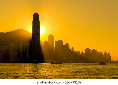 Silhouette of  Hong Kong city