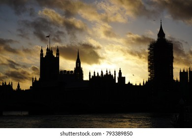 Silhouette of Houses of Parliament In London at sunset
