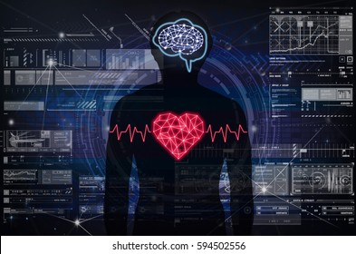 Silhouette of human body with technology line and dot of polygonal shape brain and heart over the Technology connection with digital virtual screen background, Science healthy and physician concept