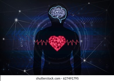 Silhouette of human body with technology line and dot of polygonal shape brain and heart over the Technology connection background, Science healthy and physician education concept