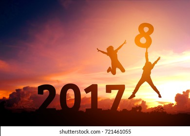 Silhouette Human Happy for 2018 new year