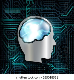 Silhouette of human head. Mental health. NLP. Technology background with microchip and brain.