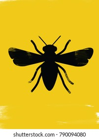 Silhouette illustration of a bee
