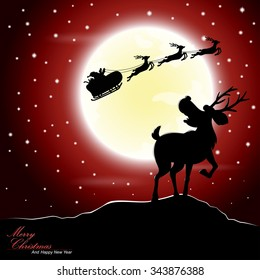 Silhouette illustration of deer afraid see Santa Claus riding a sleigh pulled by reindeer with the moon as a background