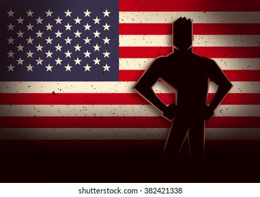 Silhouette illustration of a man standing in front of United States of America flag