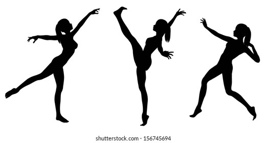 Silhouette illustrations of a female gymnast with a ponytail in various poses on a white background