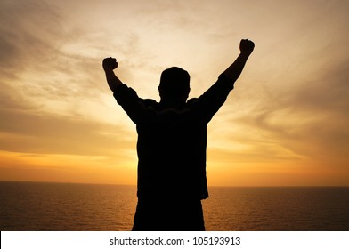 Silhouette Image of Happy Man Showing Winner Action