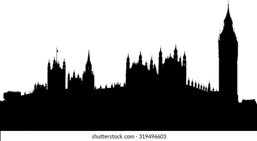 silhouette image of the house of parliament and Big Ben clock tower, London, UK