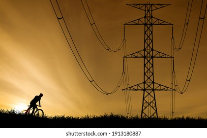 Silhouette image of large transmission towers