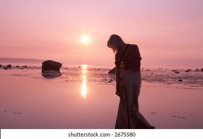 silhouette image of pink sunset and sad lady