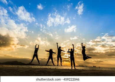 Silhouette of International cheering new generation jump on beautiful background. concept for color running activity, relax lifestyle, hope faith love, growing seller Trader Happiness for stock market