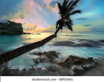 Silhouette Island in the Seychelles stunning  long Exposure study with strong light shafts