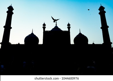 silhouette of Jama Masjid at Old Delhi, India
