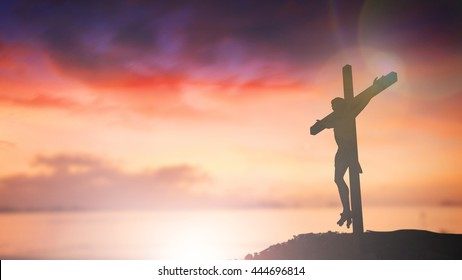 Silhouette jesus christ ascension on cross background Abstract for christian religion that god he is risen in easter day bible prophet symbol death concept for feeling proud calvary Christmas banner.