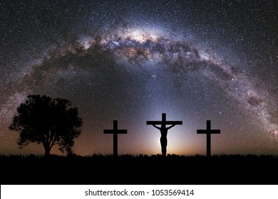 Silhouette of Jesus christ crucifix on cross over heaven sunset concept for catholic religion, christian worship, Christmas, happy Easter Day, Thanksgiving prayer and praise good friday, bible