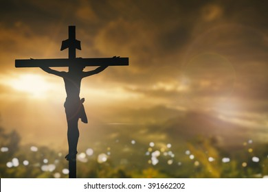 Silhouette jesus christ on cross background Abstract for christian religion that god he is risen in easter day bible prophet symbol death concept for feeling proud calvary Christmas card decoration