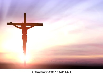 Silhouette jesus christ on cross background Abstract for christian religion that god he is risen in easter day bible prophet symbol death concept for feeling proud calvary Christmas card decoration.