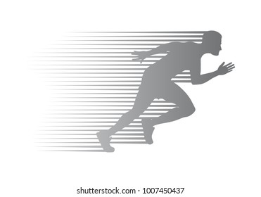 Silhouette of jogger on finish. Athletic running man in movement on white background. Sport lifestyle colourless  illustration. Motion movement logotype in cartoon style flat design