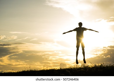 Silhouette of  jump gladness happy time